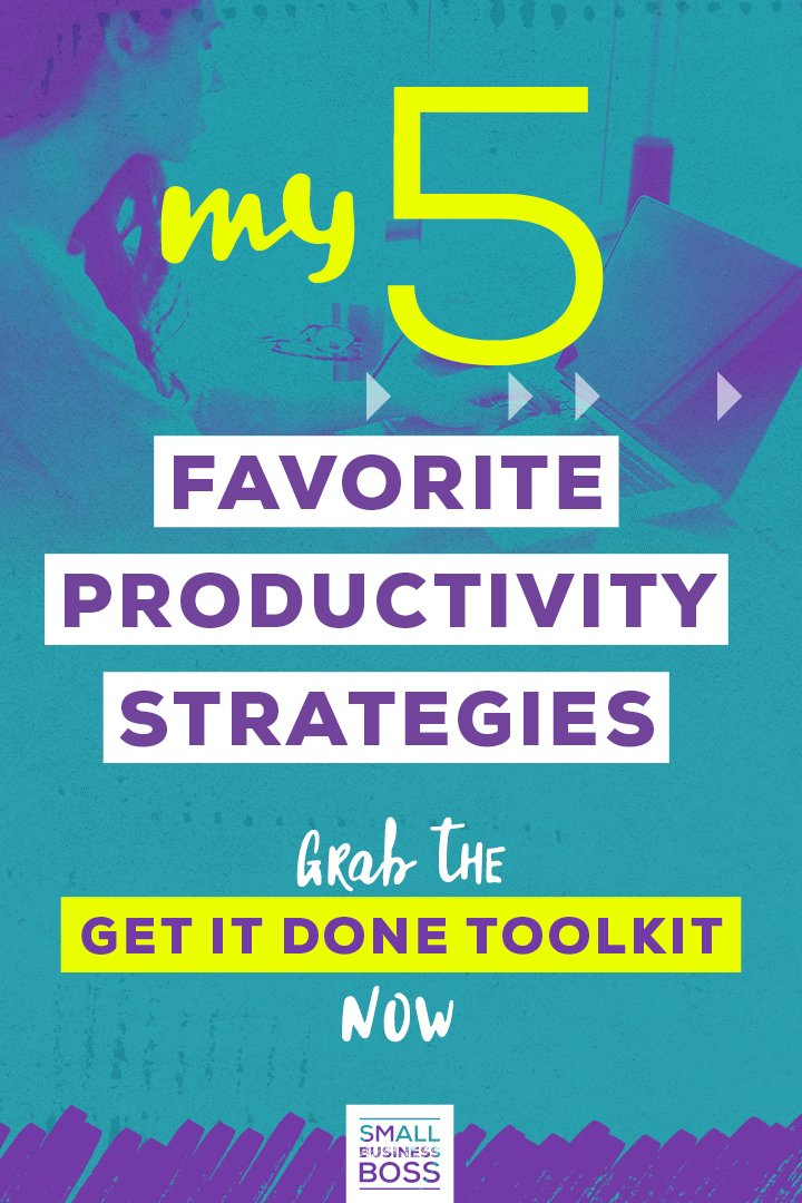 Better managing our time is one of the best ways we can ensure we accomplish our goals. *Pin this post for five productivity strategies to help you get more done.* #smallbusinessboss #productivitystrategies #servicesbusiness