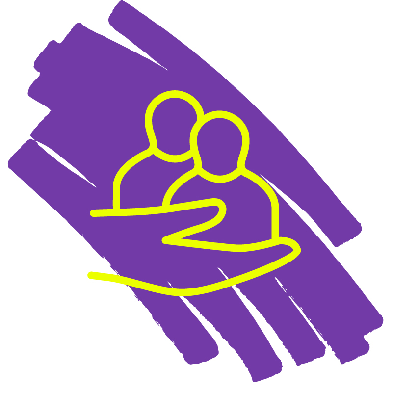 an icon of a yellow hand holding two people with a purple mark in the background