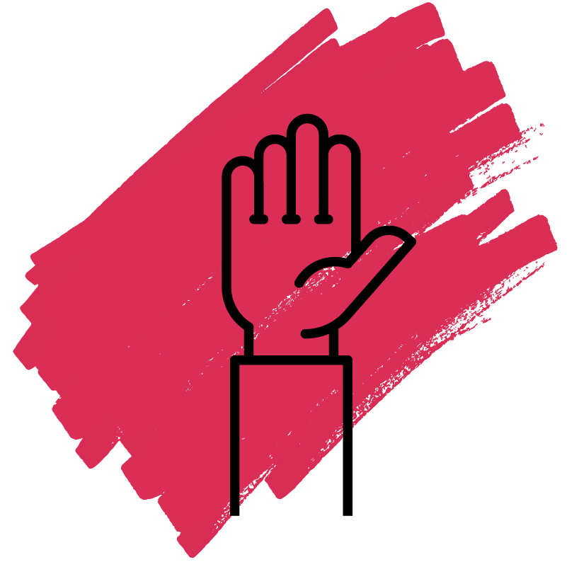 an icon of a black raised hand with a red mark in the background